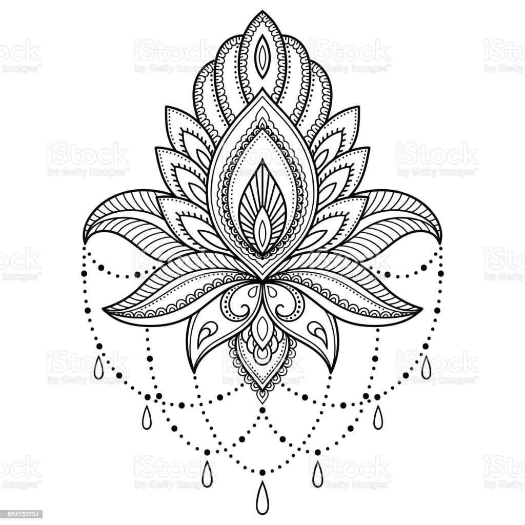 Henna tattoo flower template in Indian style. Ethnic floral paisley - Lotus. Mehndi style. Ornamental pattern in the oriental style. vector art illustration