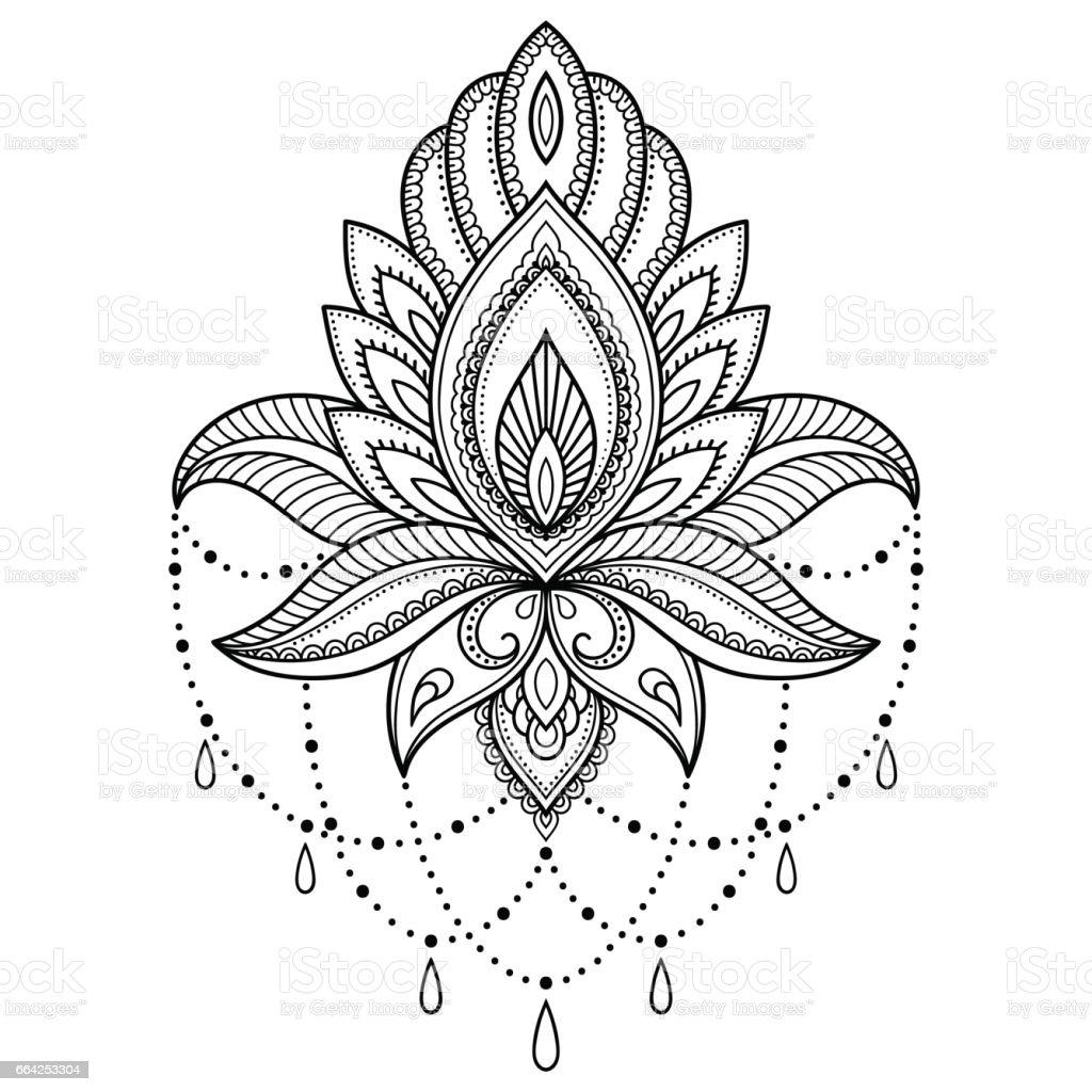 Plantilla de flor de tatuaje de henna en estilo indio. Paisley floral étnico - Lotus. Estilo de mehndi. Patrón de ornamental en el estilo oriental. - ilustración de arte vectorial