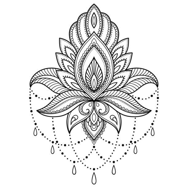stockillustraties, clipart, cartoons en iconen met henna tattoo bloem sjabloon in indiase stijl. etnische floral paisley - lotus. mehndi stijl. decoratieve patroon in de oosterse stijl. - hennatatoeage