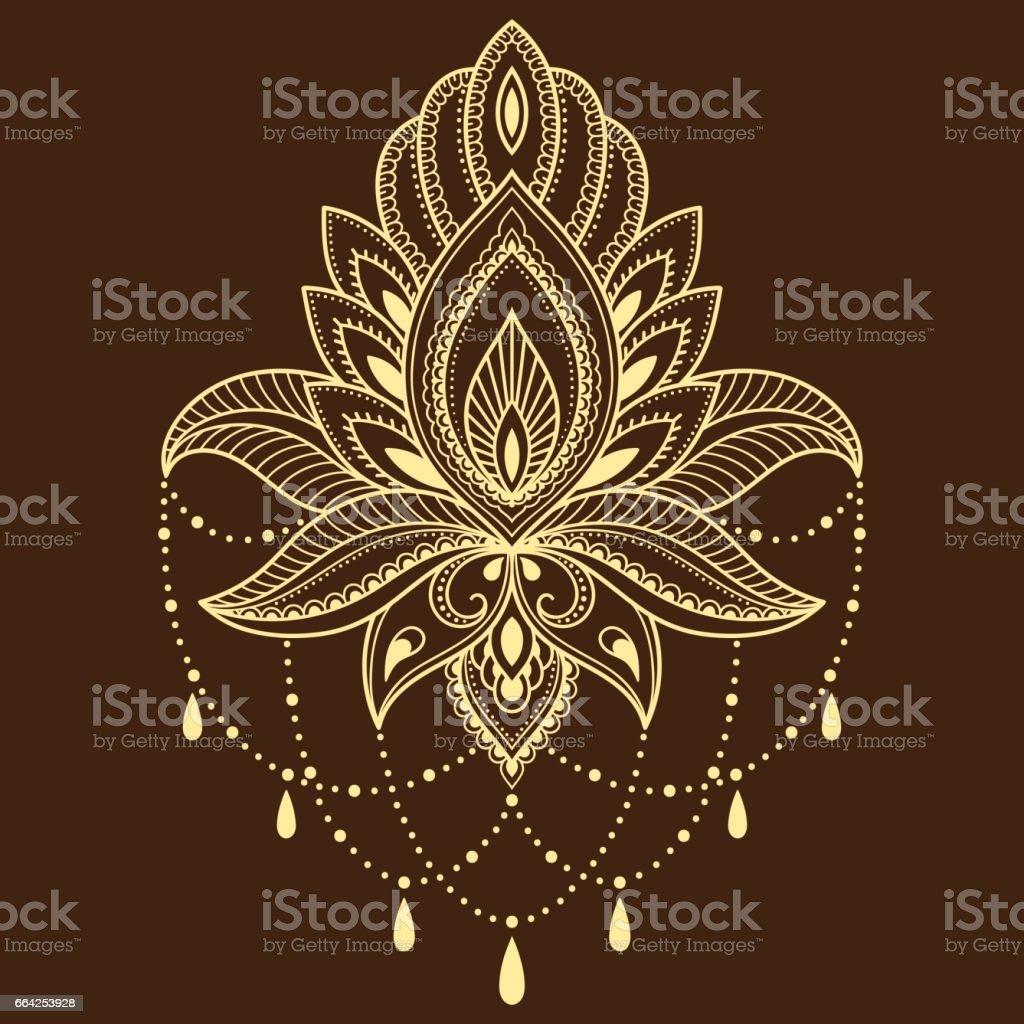 Ilustración de Plantilla De Flor De Tatuaje De Henna En Estilo Indio ...
