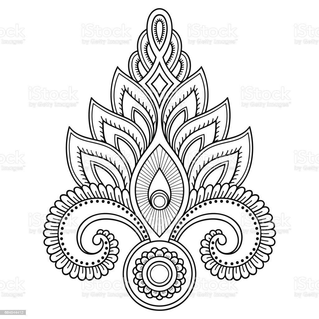 Modelo de flor tatuagem de henna no estilo indiano. Étnico floral paisley - Lotus. Estilo de Mehndi. Padrão ornamental em estilo oriental. - ilustração de arte em vetor