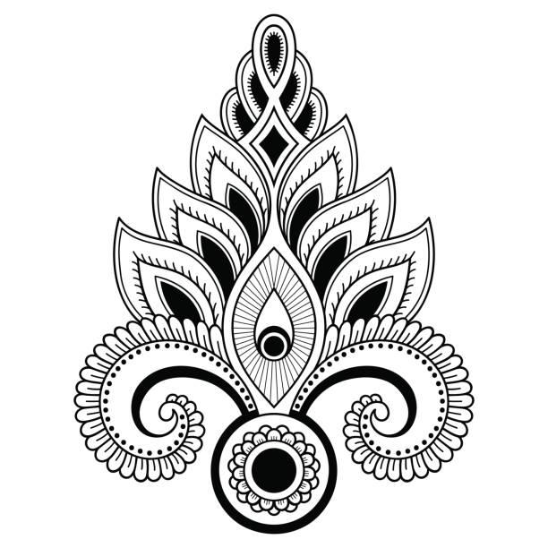 ilustrações, clipart, desenhos animados e ícones de modelo de flor tatuagem de henna no estilo indiano. étnico floral paisley - lotus. estilo de mehndi. padrão ornamental em estilo oriental. - fontes de tatuagem