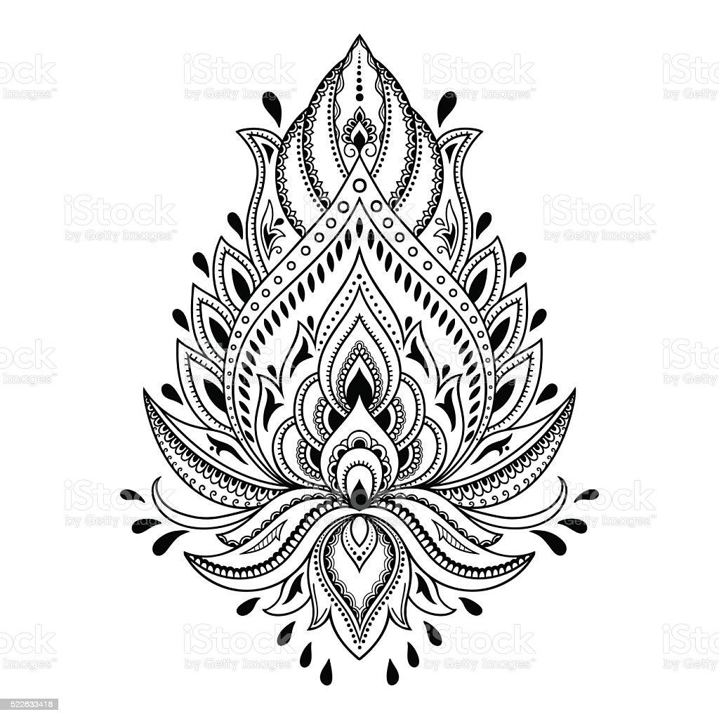 Tatuagem de Hena flor modelo em estilo indiano. Étnico Paisley Lótus. - ilustração de arte em vetor