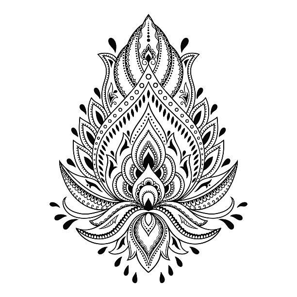 ilustrações, clipart, desenhos animados e ícones de tatuagem de hena flor modelo em estilo indiano. étnico paisley lótus. - fontes de tatuagem