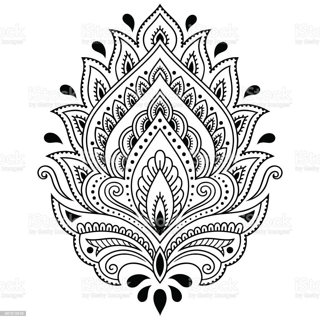 Tatuaż Z Henny Kwiatowy Wzór W Stylu Indyjskim Etniczne