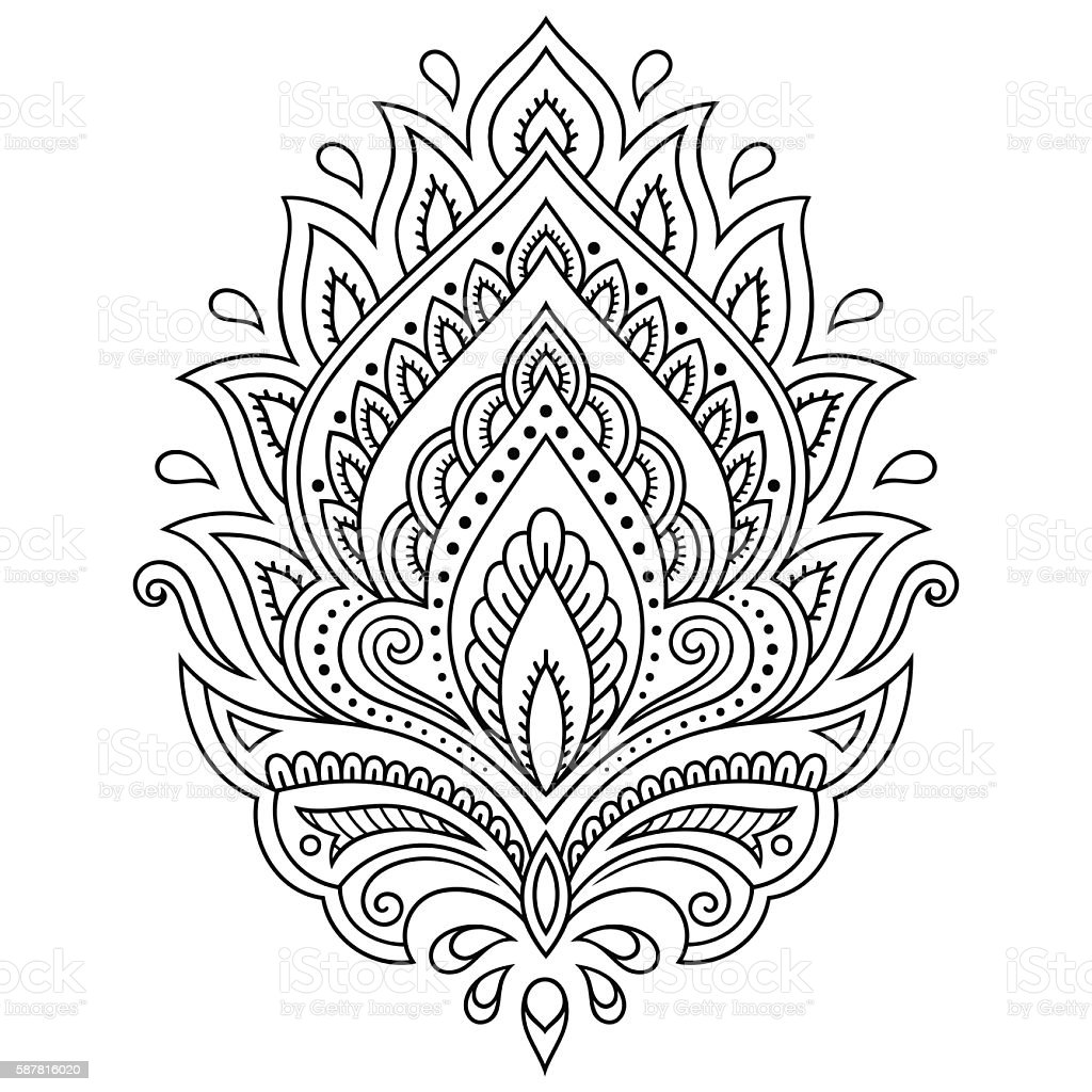 henna tattoo flower template in indian style ethnic paisley lotus stock vector art more images. Black Bedroom Furniture Sets. Home Design Ideas