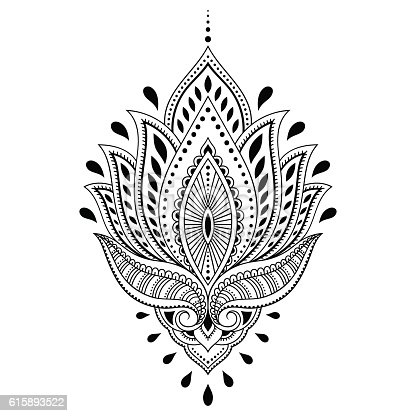 Henna Tattoo Flower Template In Indian Style Ethnic Paisley Lotus Gm615893522 106976473