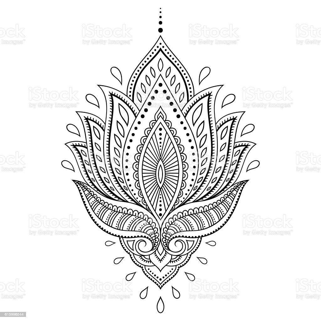 Henna Tattoo Vector: Henna Tattoo Flower Template In Indian Style Ethnic