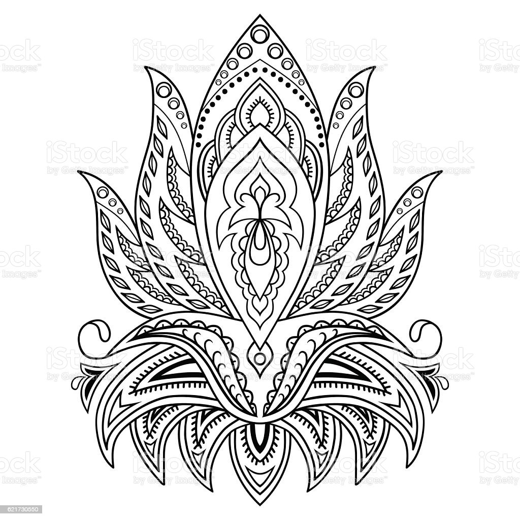 Henna Tattoo Flower Template In Indian Style Ethnic Paisley Lotus