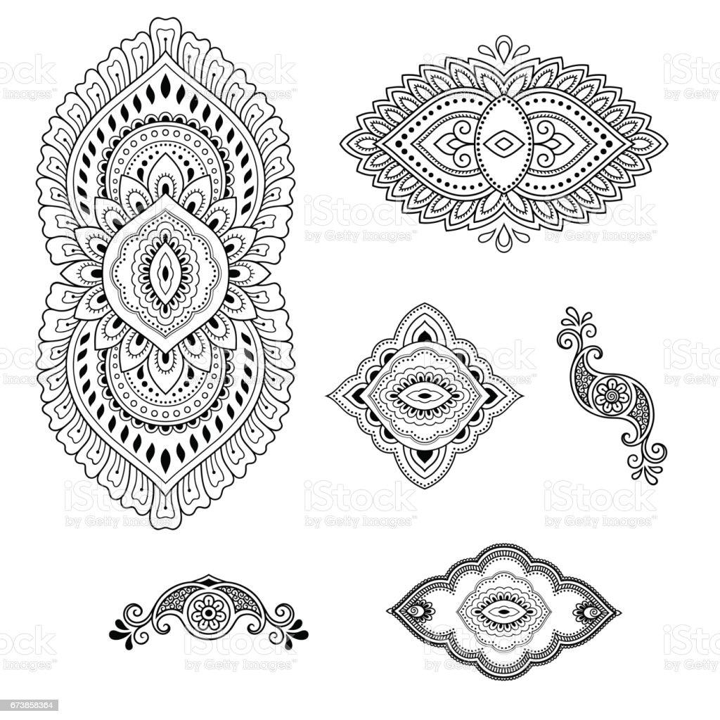 Modèle de tatouage au henné de fleur. Mehndi style. Ensemble des motifs ornementaux dans le style oriental. modèle de tatouage au henné de fleur mehndi style ensemble des motifs ornementaux dans le style oriental – cliparts vectoriels et plus d'images de abstrait libre de droits