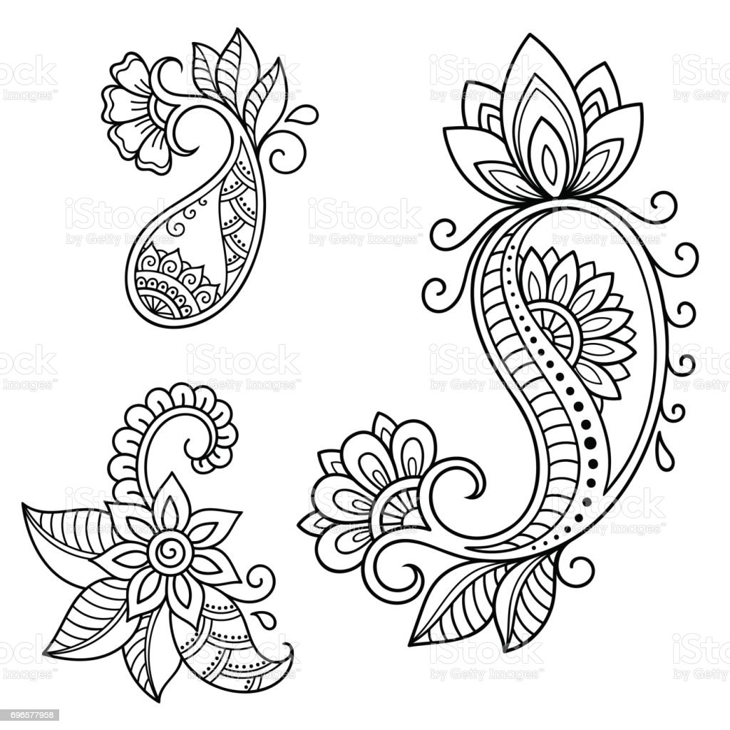henna tattoo flower template mehndi style set of. Black Bedroom Furniture Sets. Home Design Ideas