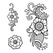 henna tattoo flower template and patterned frame mehndi style set of