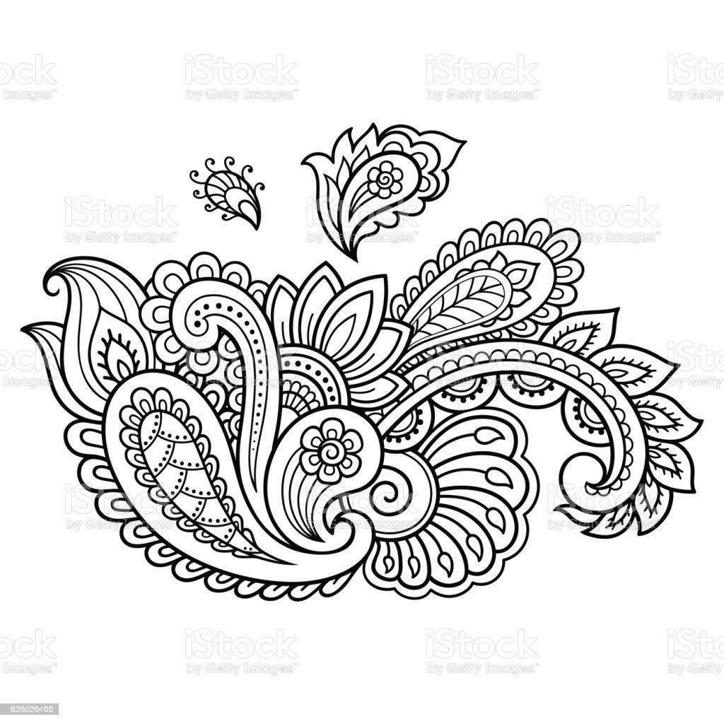 Plantilla De La Flor Del Tatuaje De Henna Estilo De Mehndi Conjunto ...