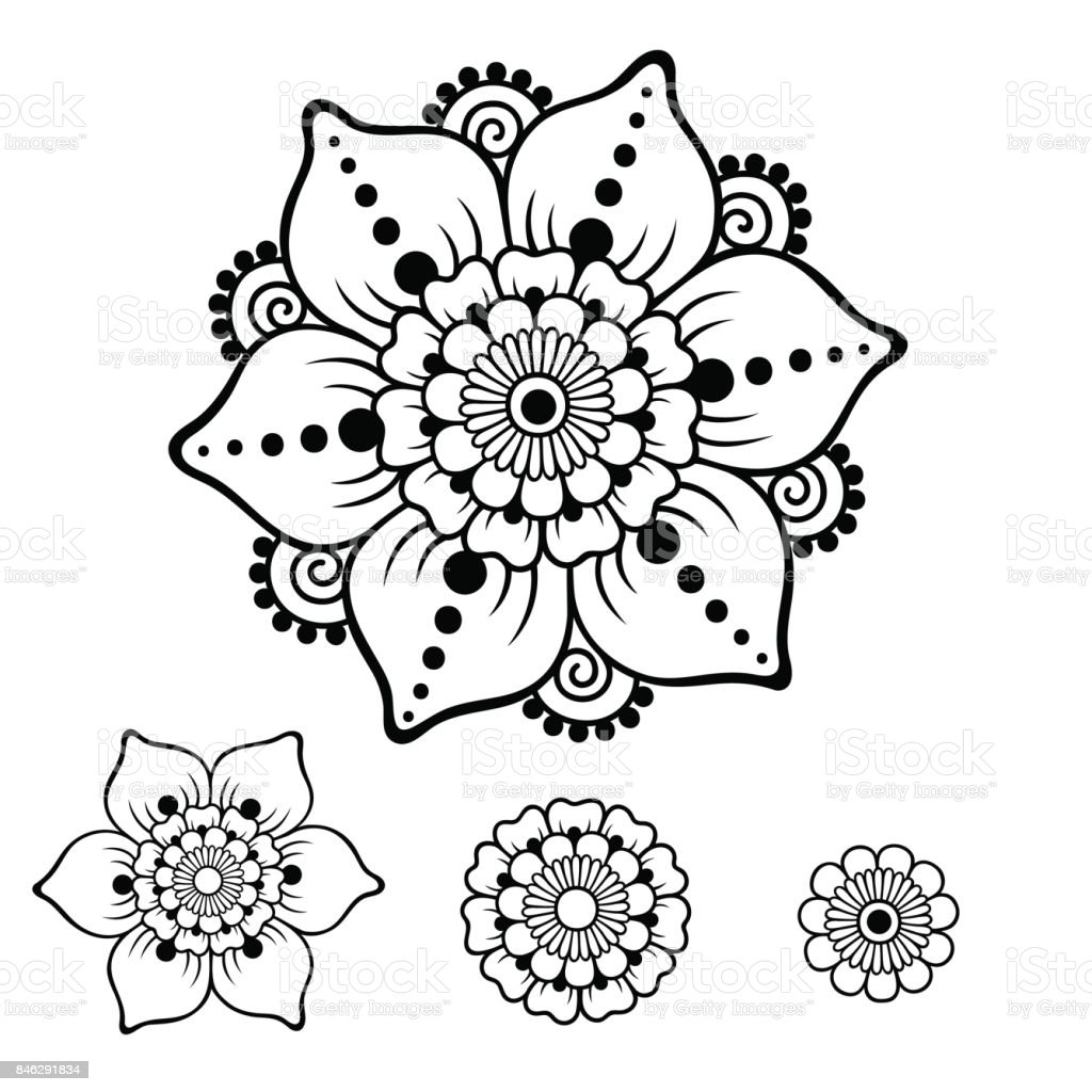 Henna Tattoo Flower Template In Indian Style: Henna Tattoo Bloem Sjabloon Mehndi Stijl Het Aantal