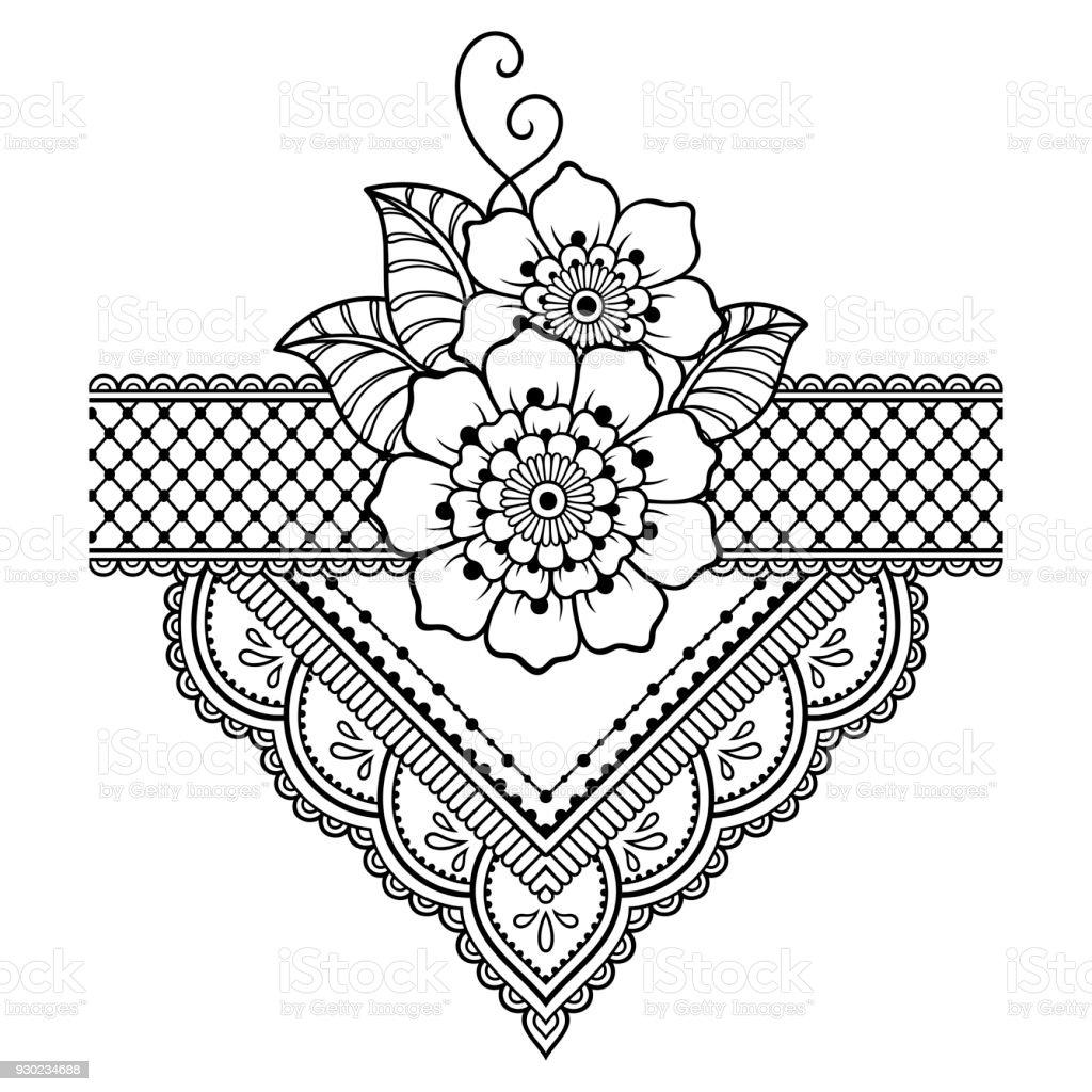 henna tattoo flower template mehndi style set of ornamental patterns