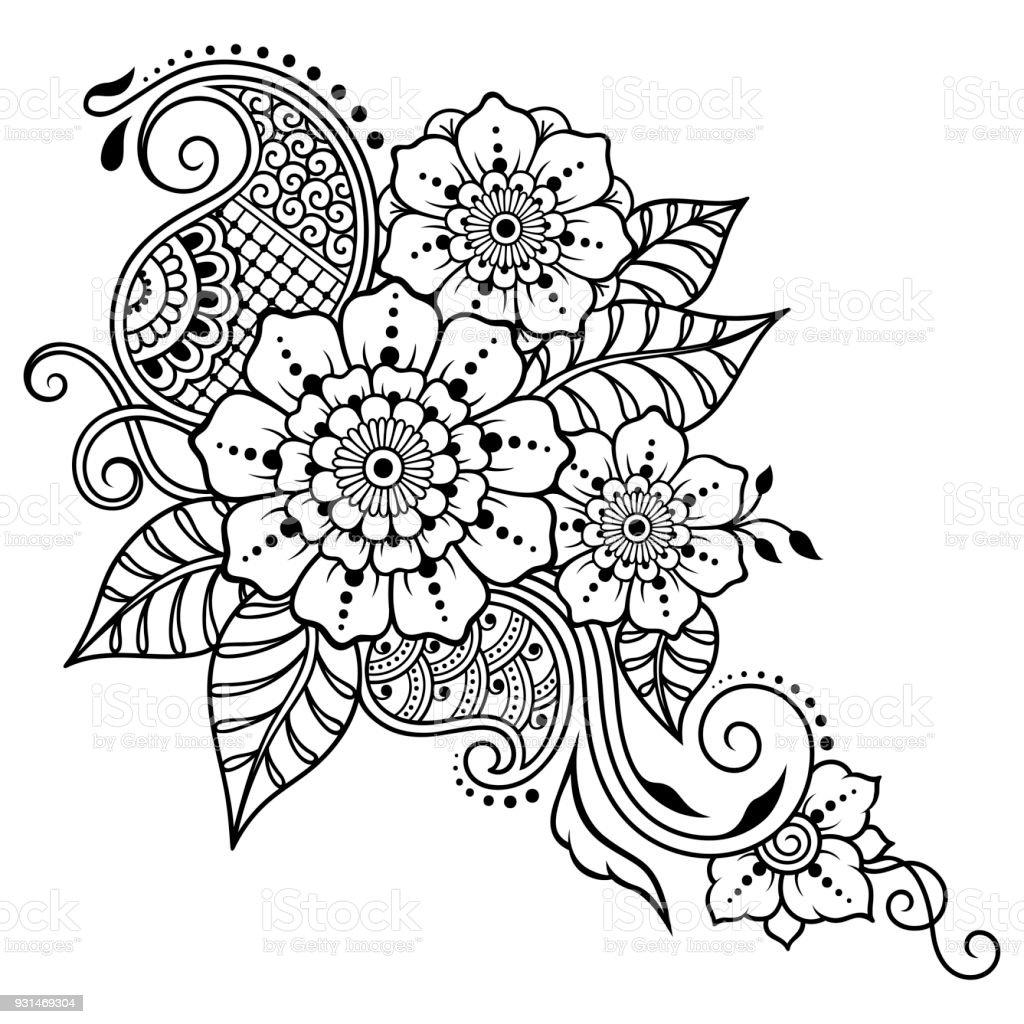 Henna Tattoo Flower Template Mehndi Style Set Of