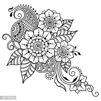 Hennatattoo Blume Vorlage Mehndistil Satz Von Ornamentalen