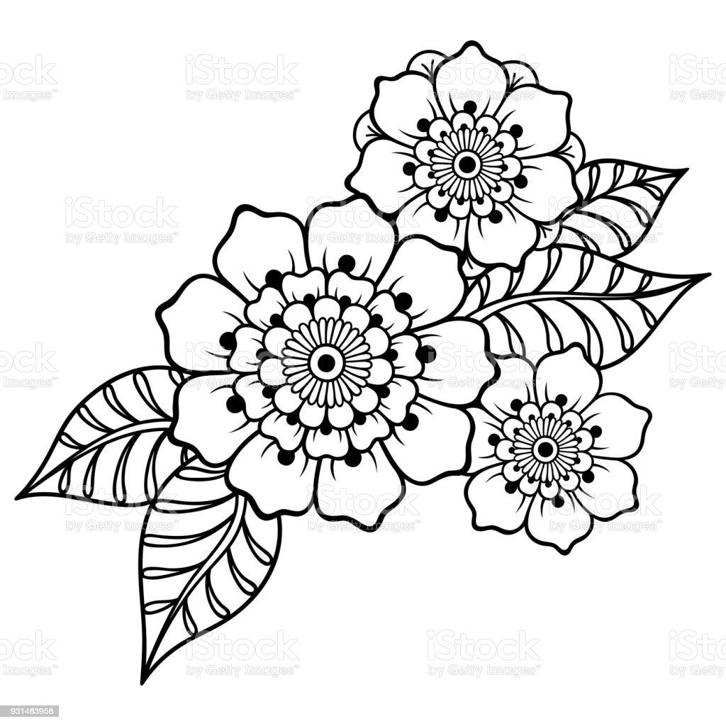 Ilustración de Plantilla De La Flor Del Tatuaje De Henna Estilo De ...
