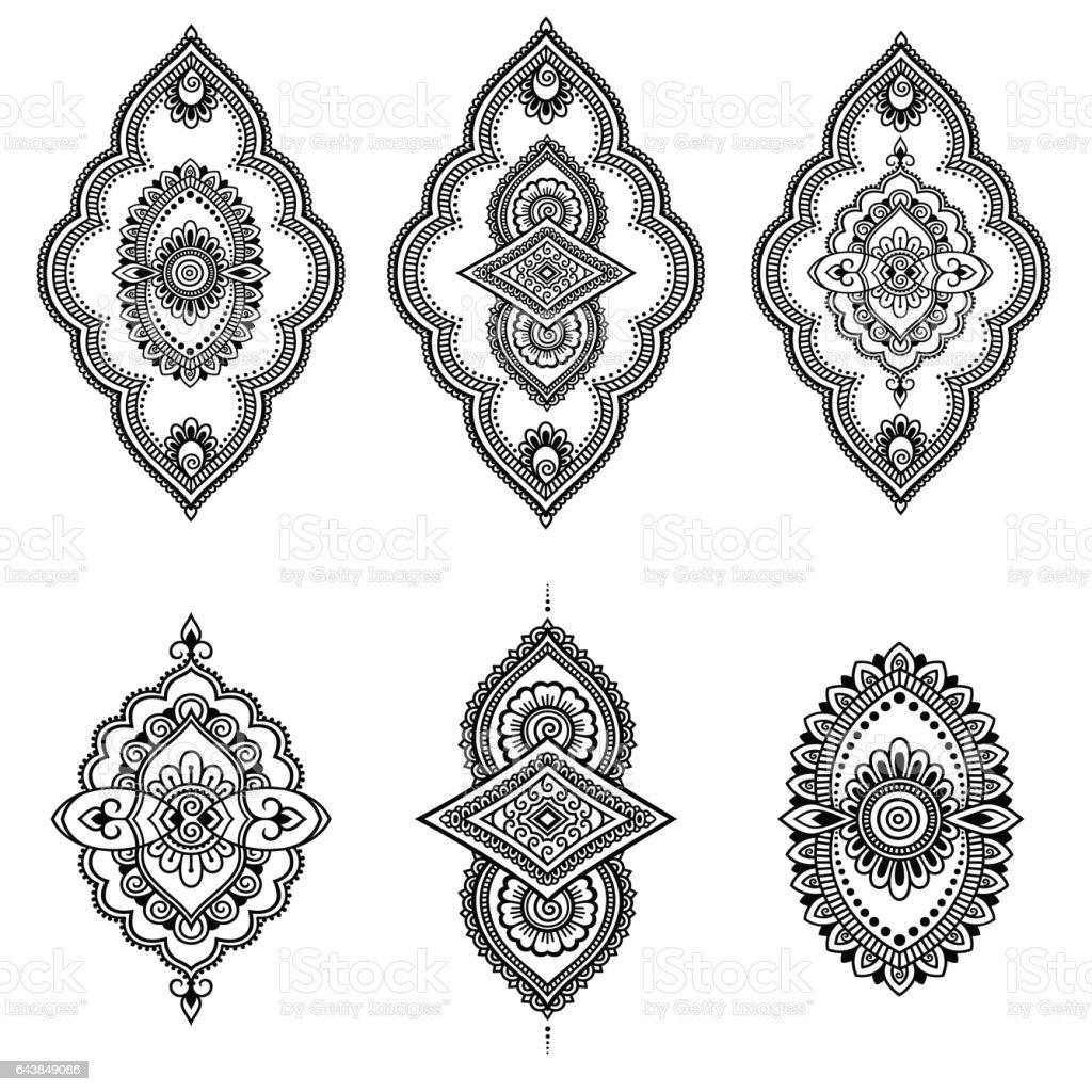 Flower Crown For Mehndi : Henna tattoo flower template mehndi style set ornamental oriental stock vector art more