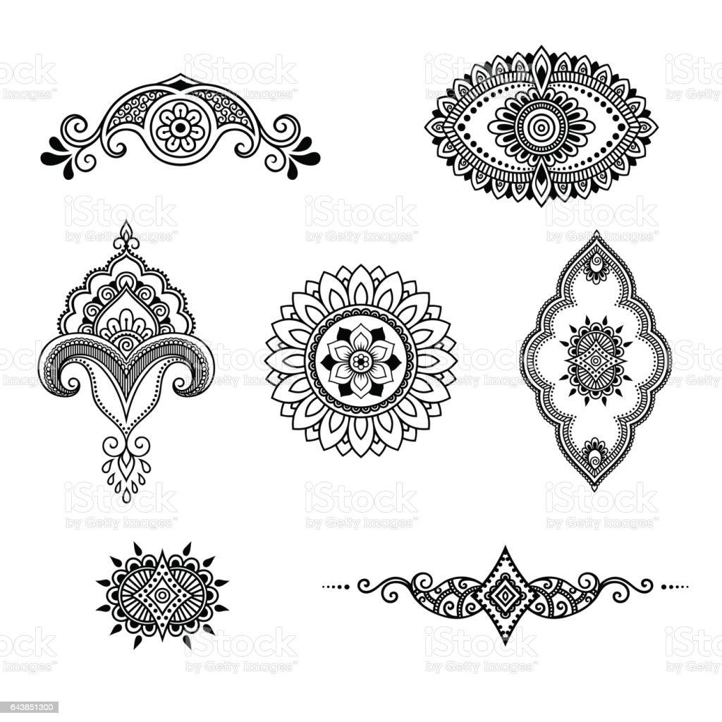 Henna Tattoo Vector: Henna Tattoo Flower Template Mehndi Style Set Ornamental
