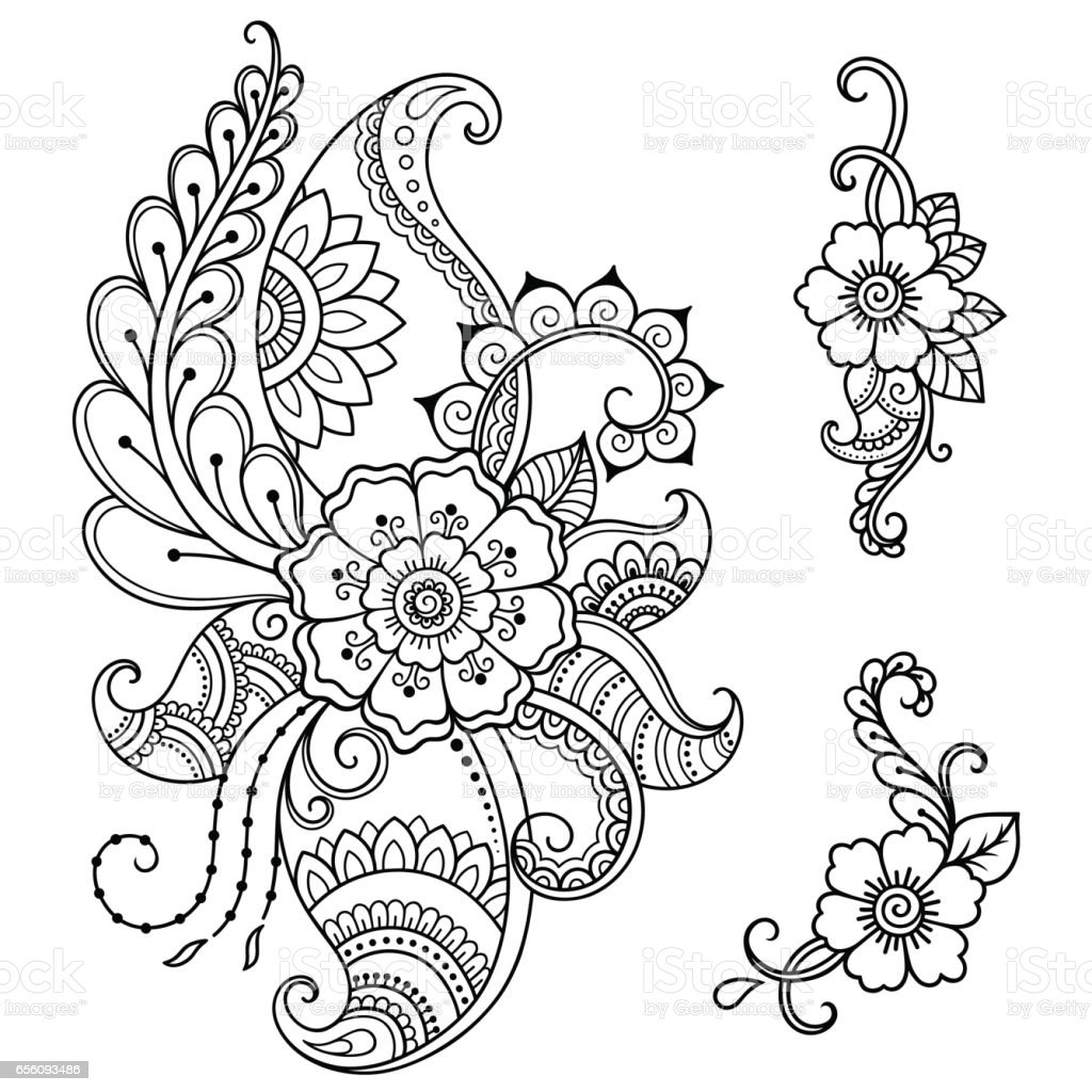 hennatattoo blume vorlage mehndistil ornamentale orientalischen stil festlegen stock vektor art. Black Bedroom Furniture Sets. Home Design Ideas