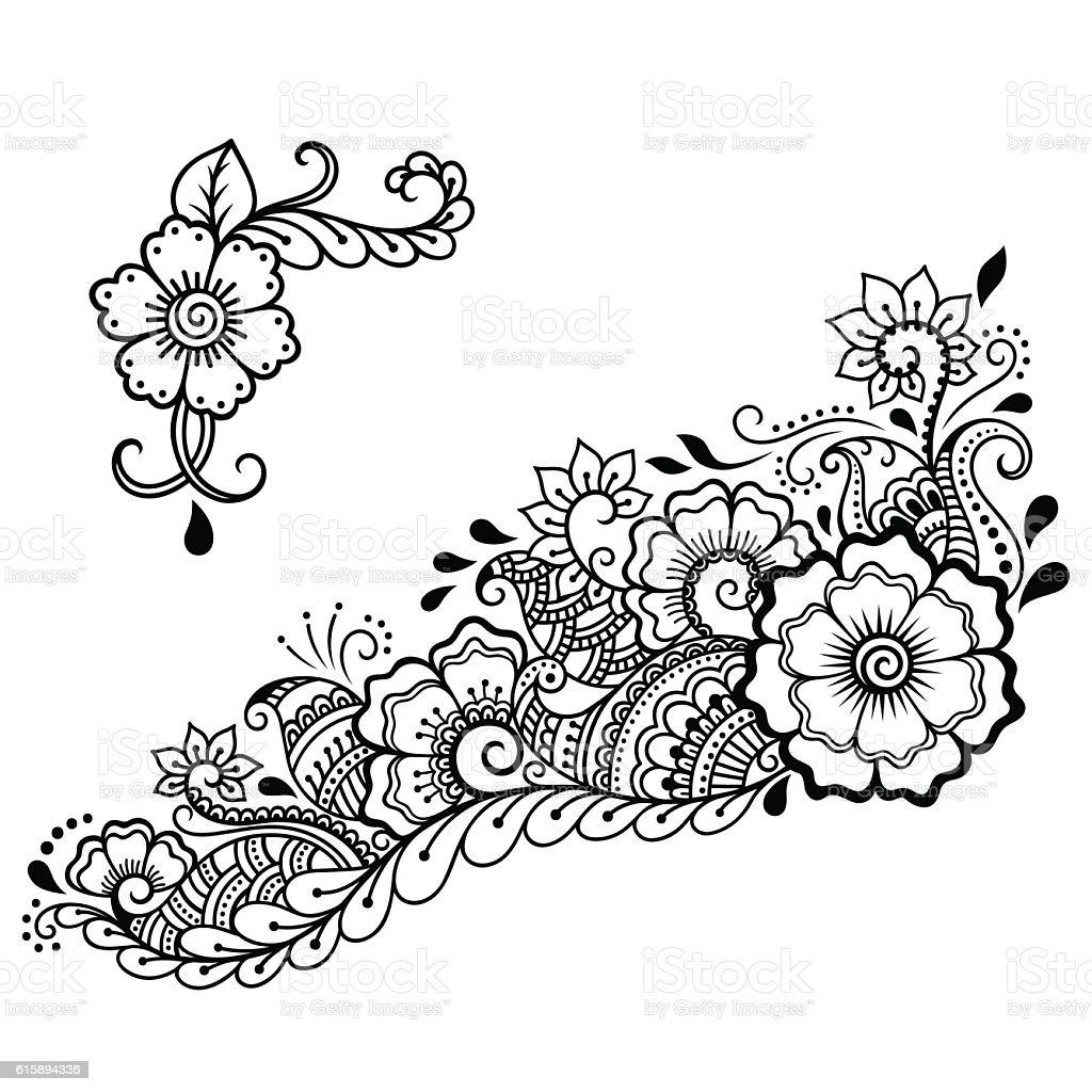 henna tattoo flower template mehndi style いたずら書きのベクター
