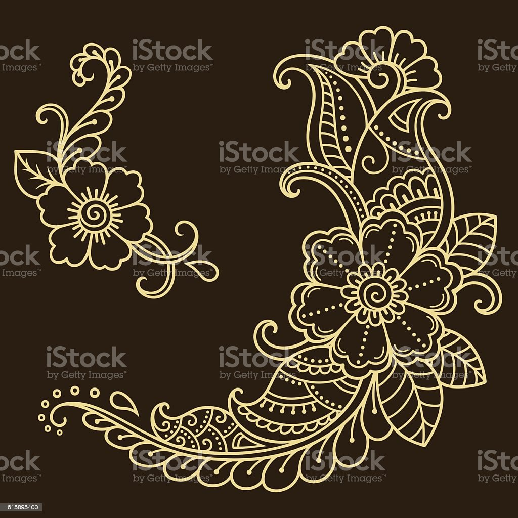 Henna tattoo flower template. Mehndi style.
