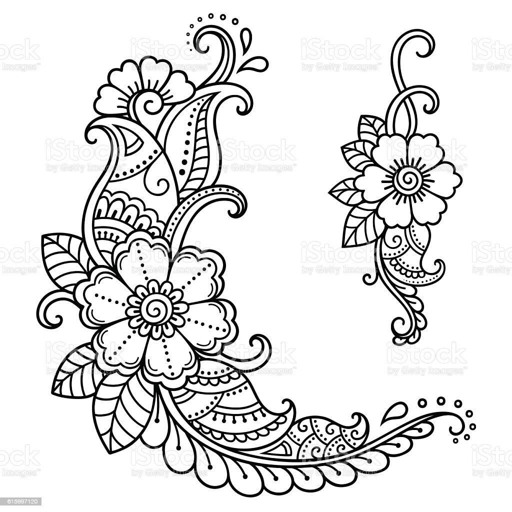 Henna Tattoo Vector: Henna Tattoo Flower Template Mehndi Style Stock