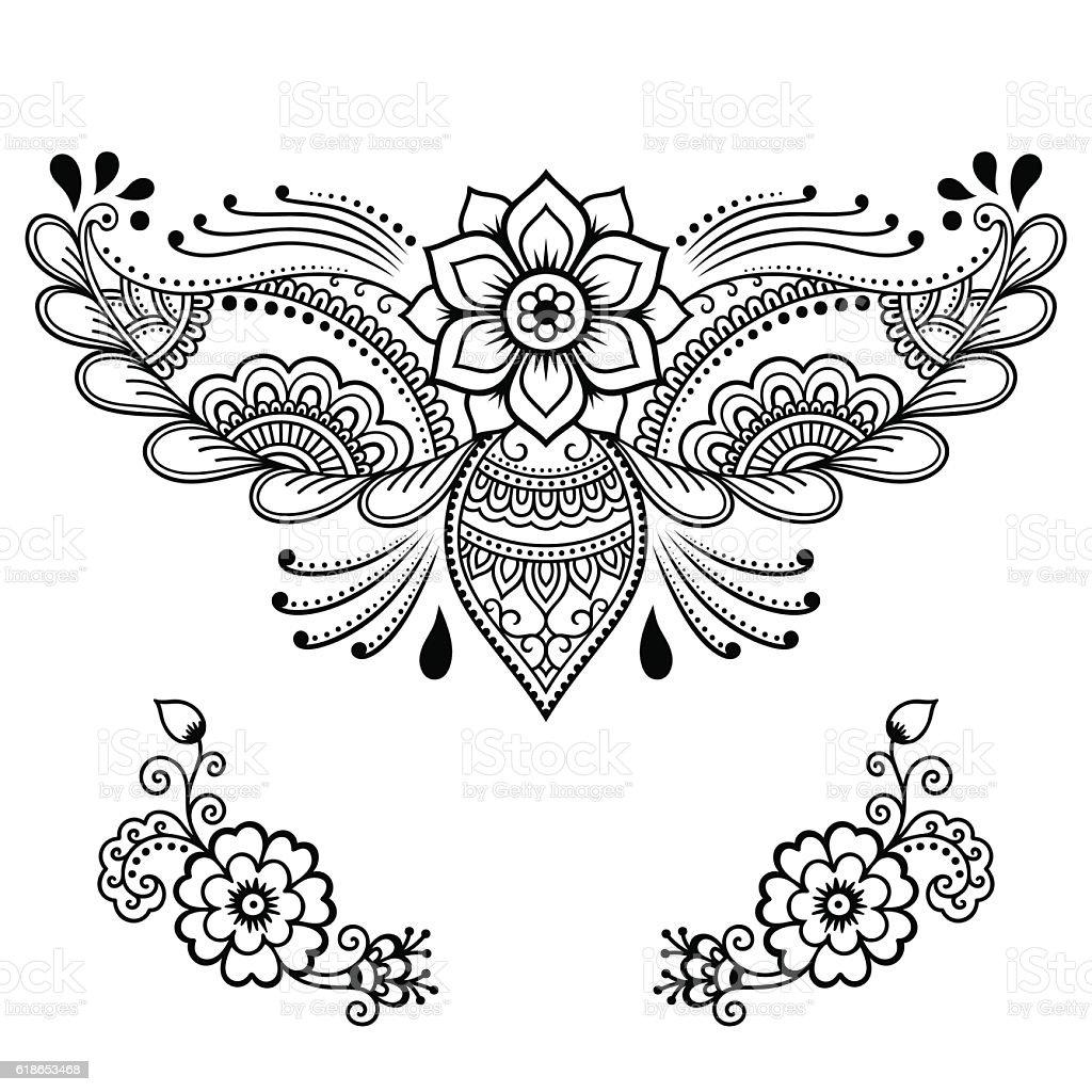 Henna Tattoo Vector: Henna Tattoo Flower Template Mehndi Style Stock Vector Art