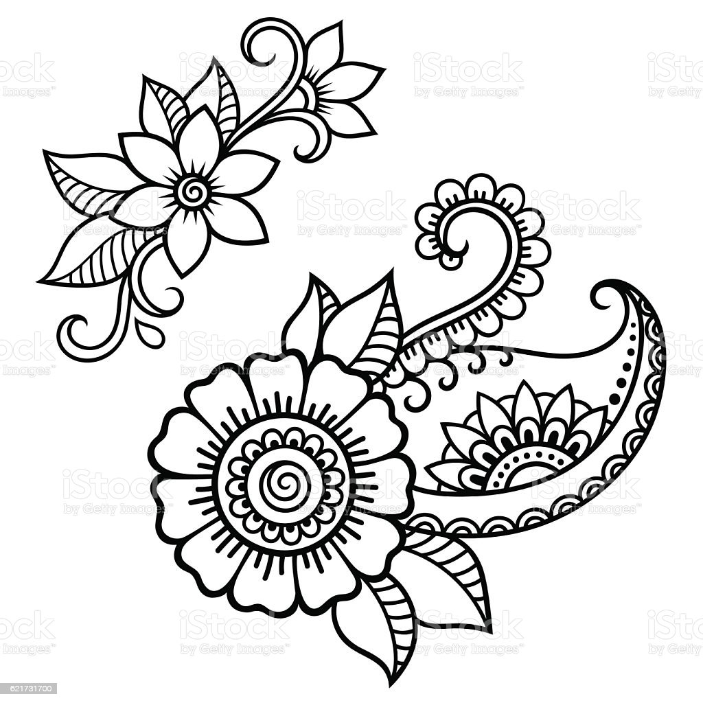 Color Henna Designs: Henna Tattoo Flower Template Mehndi Style Stock