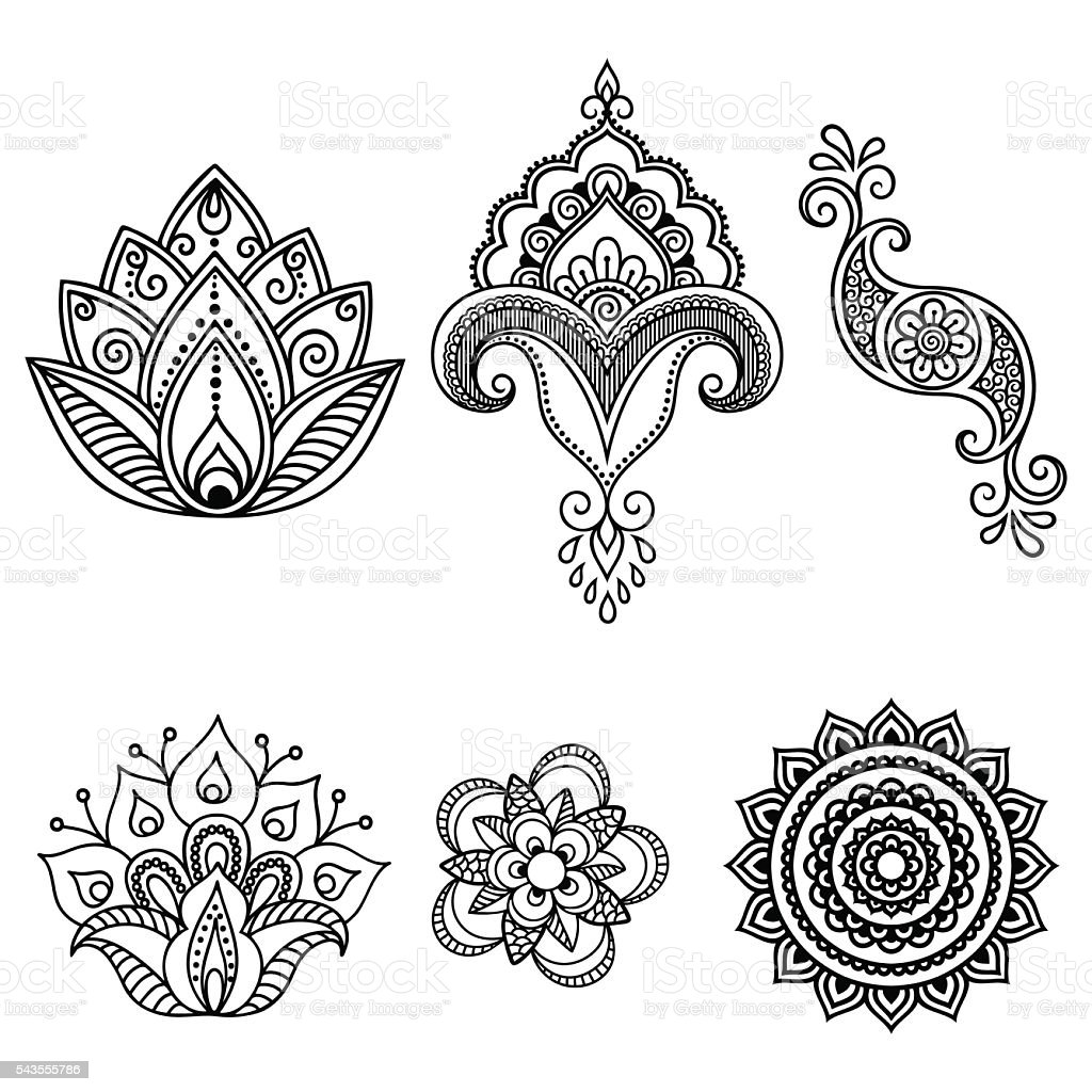 henna tattoo flower templatemehndi set stock vector art. Black Bedroom Furniture Sets. Home Design Ideas