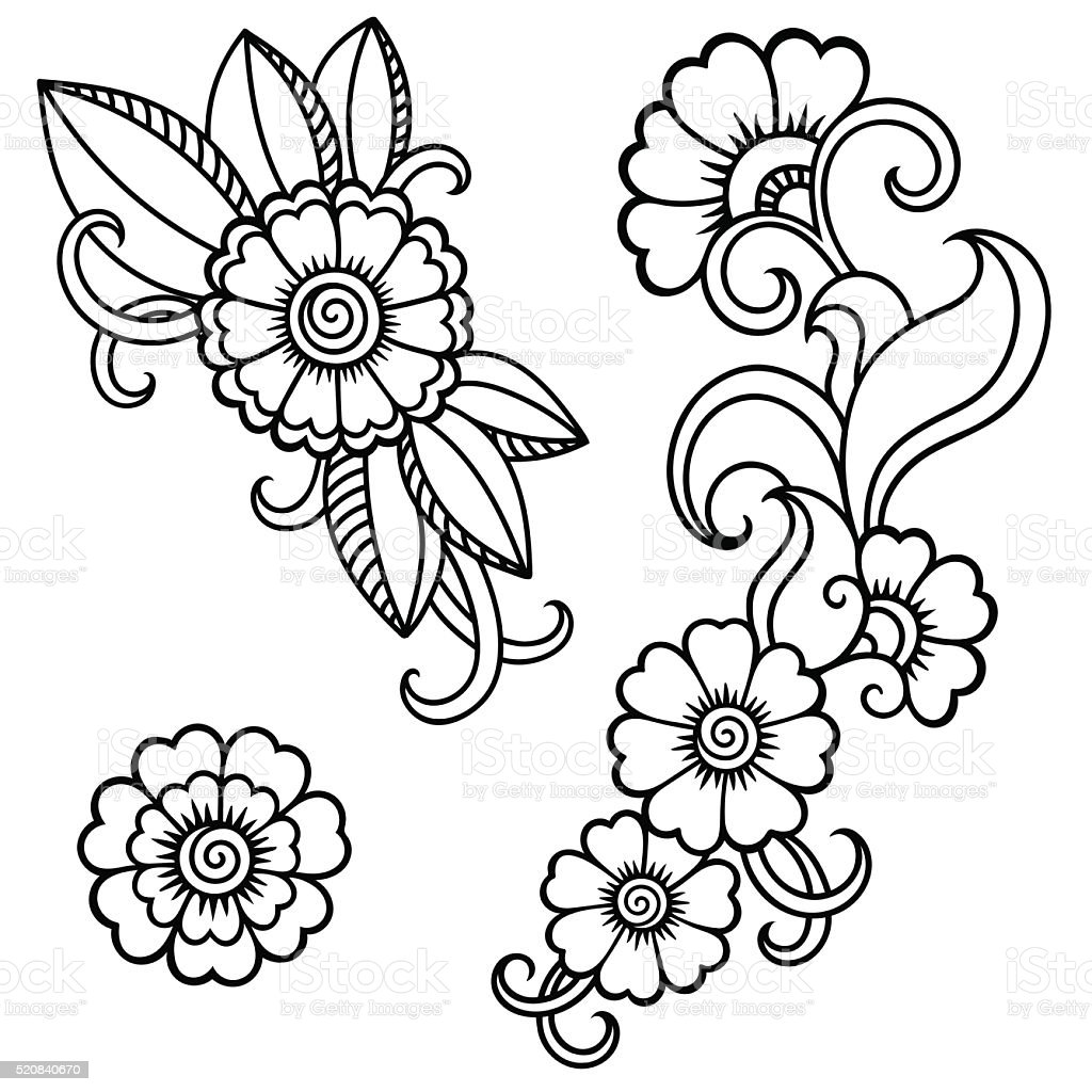 henna tattoo flower templatemehndi stock vector art more images of abstract 520840670 istock. Black Bedroom Furniture Sets. Home Design Ideas