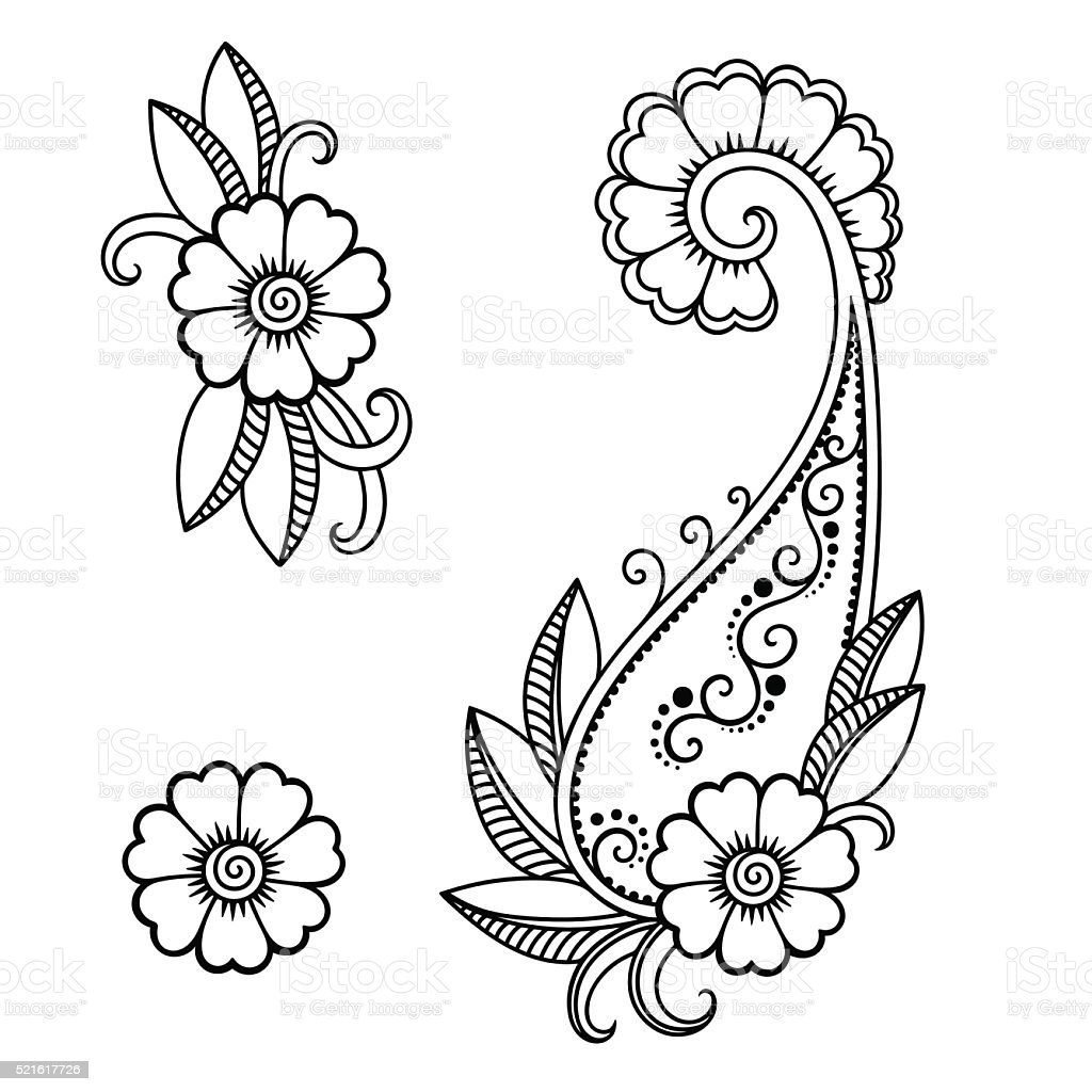 Henna Templates | Henna Tattoo Flower Templatemehndi Stock Vector Art More Images Of