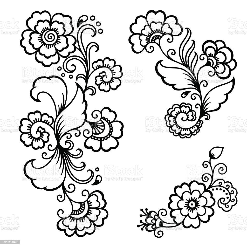 Henna Tattoo Vector: Henna Tattoo Flower Templatemehndi Stock Illustration