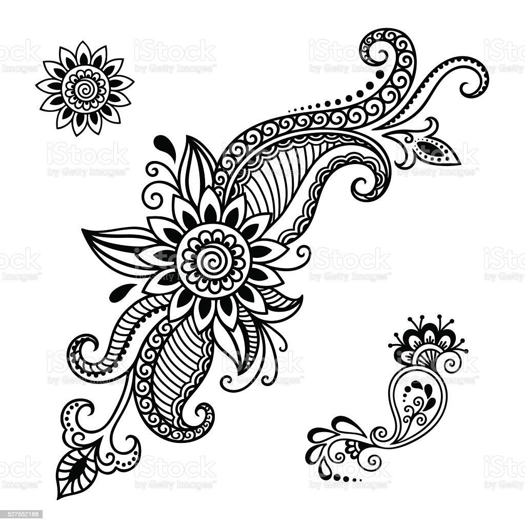 Henna Design Outline: Henna Tattoo Flower Templatemehndi Stock Illustration