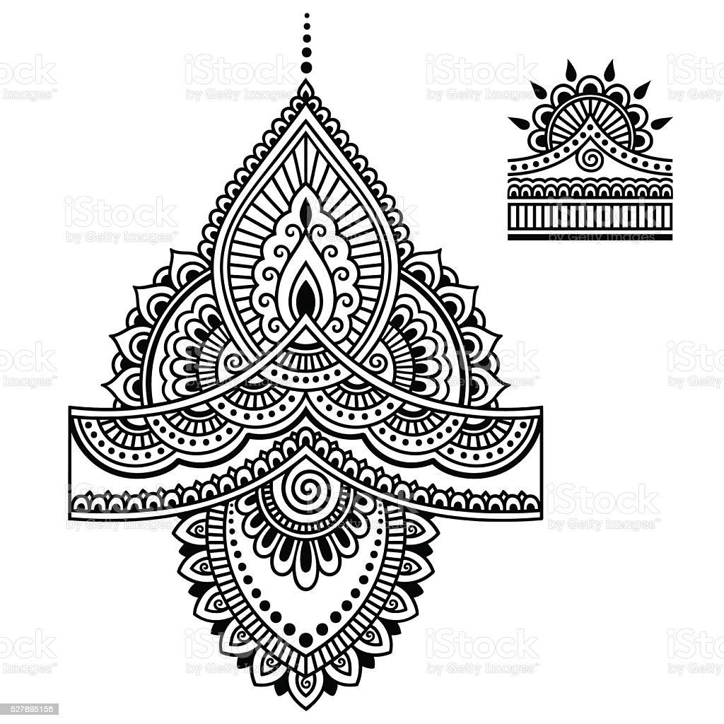 Mehndi Patterns Vector : Henna tattoo flower templatemehndi stock vector art more