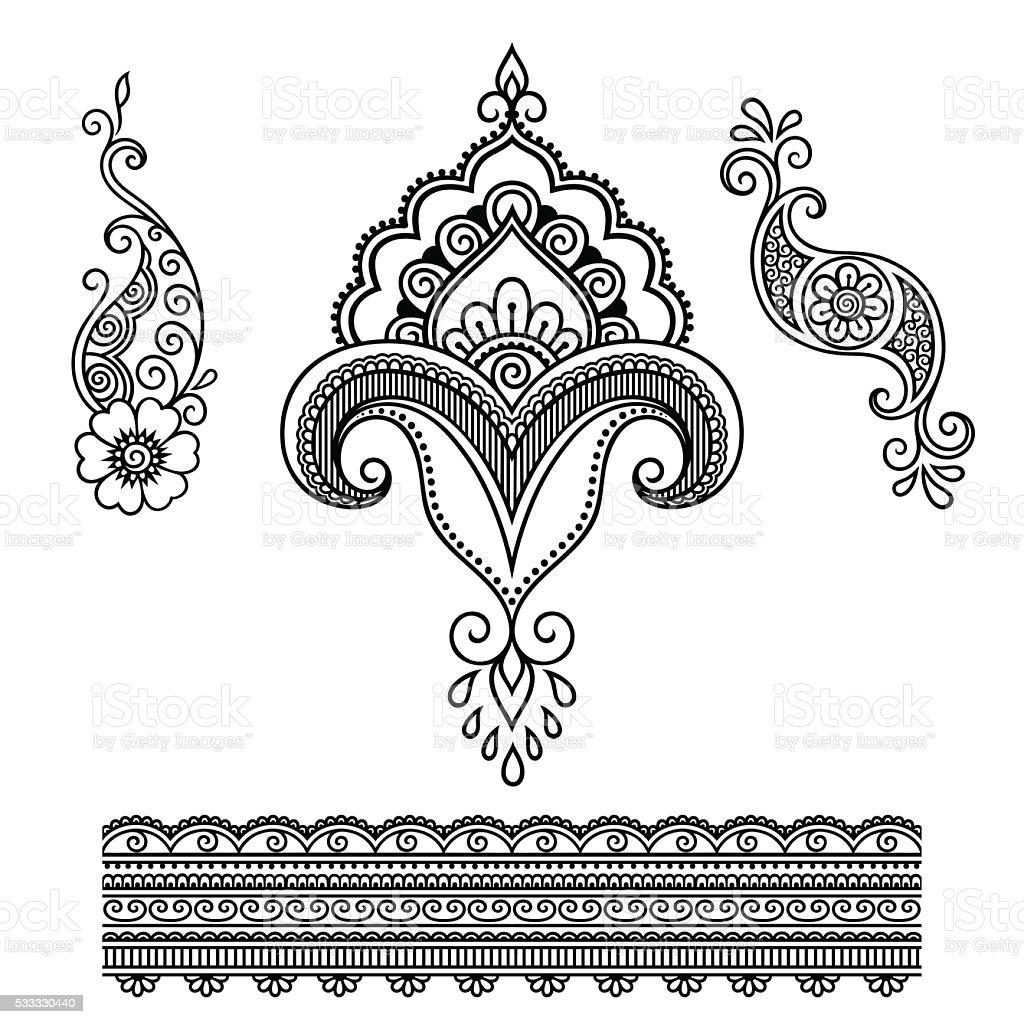 Henna Tattoo Vector: Henna Tattoo Flower Templatemehndi Stock Vector Art & More