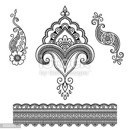 ilustra o de tatuagem de hena flor modelo mehndi e mais banco de imagens de abstrato 533330440. Black Bedroom Furniture Sets. Home Design Ideas