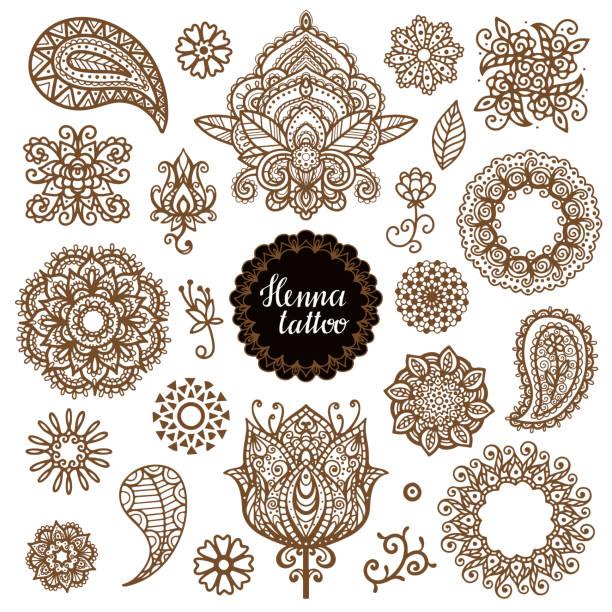 stockillustraties, clipart, cartoons en iconen met henna tattoo, mandala, bloemen, paisley set - hennatatoeage
