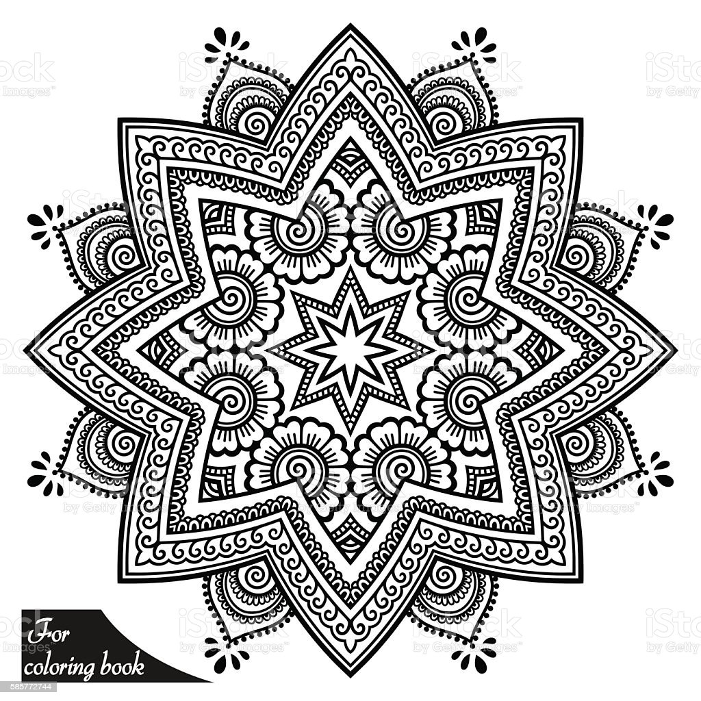 Henna Tattoo Mandala In Mehndi Style Pattern For Coloring Book Stock Illustration Download Image Now