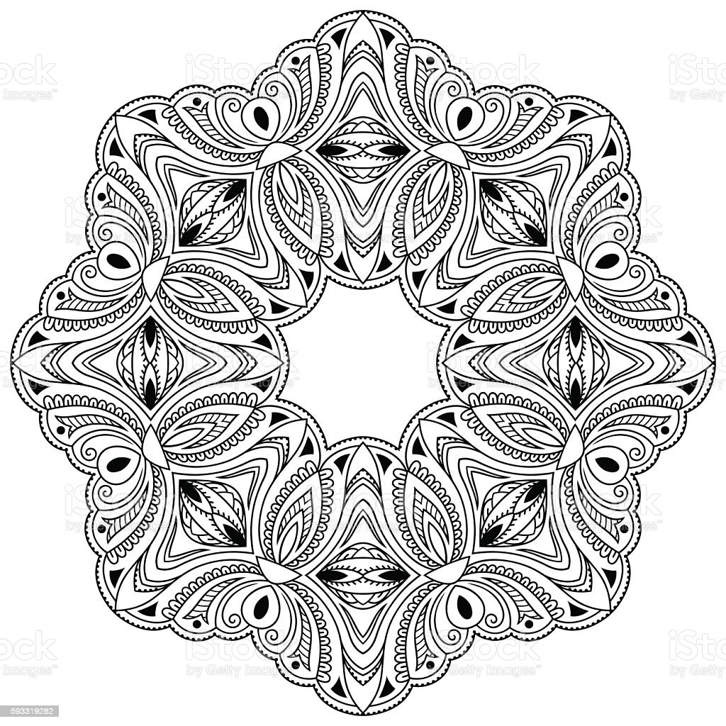 Henna Tattoo Mandala In Mehndi Style Pattern For Coloring Book Stock ...