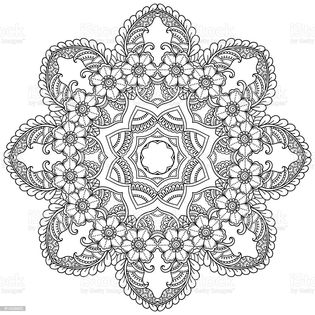 Henna Tattoo Mandala In Mehndi Style Pattern For Coloring ...