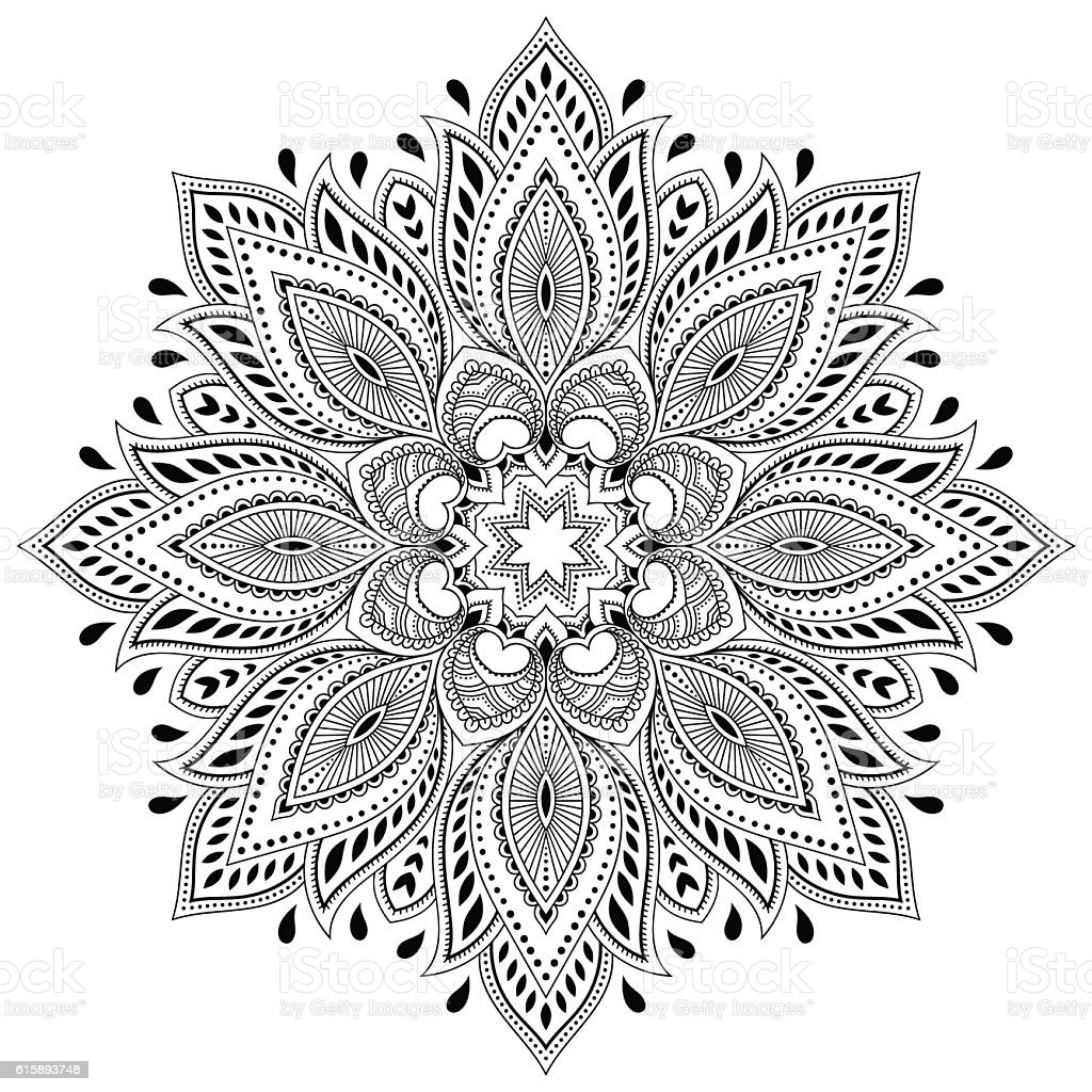 henna mehndi tattoo mandala in stil muster f r malbuch. Black Bedroom Furniture Sets. Home Design Ideas