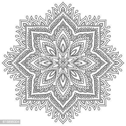 istock Tatuaje de Alheña mehndi mandala en estilo. Patrón para Libro ...