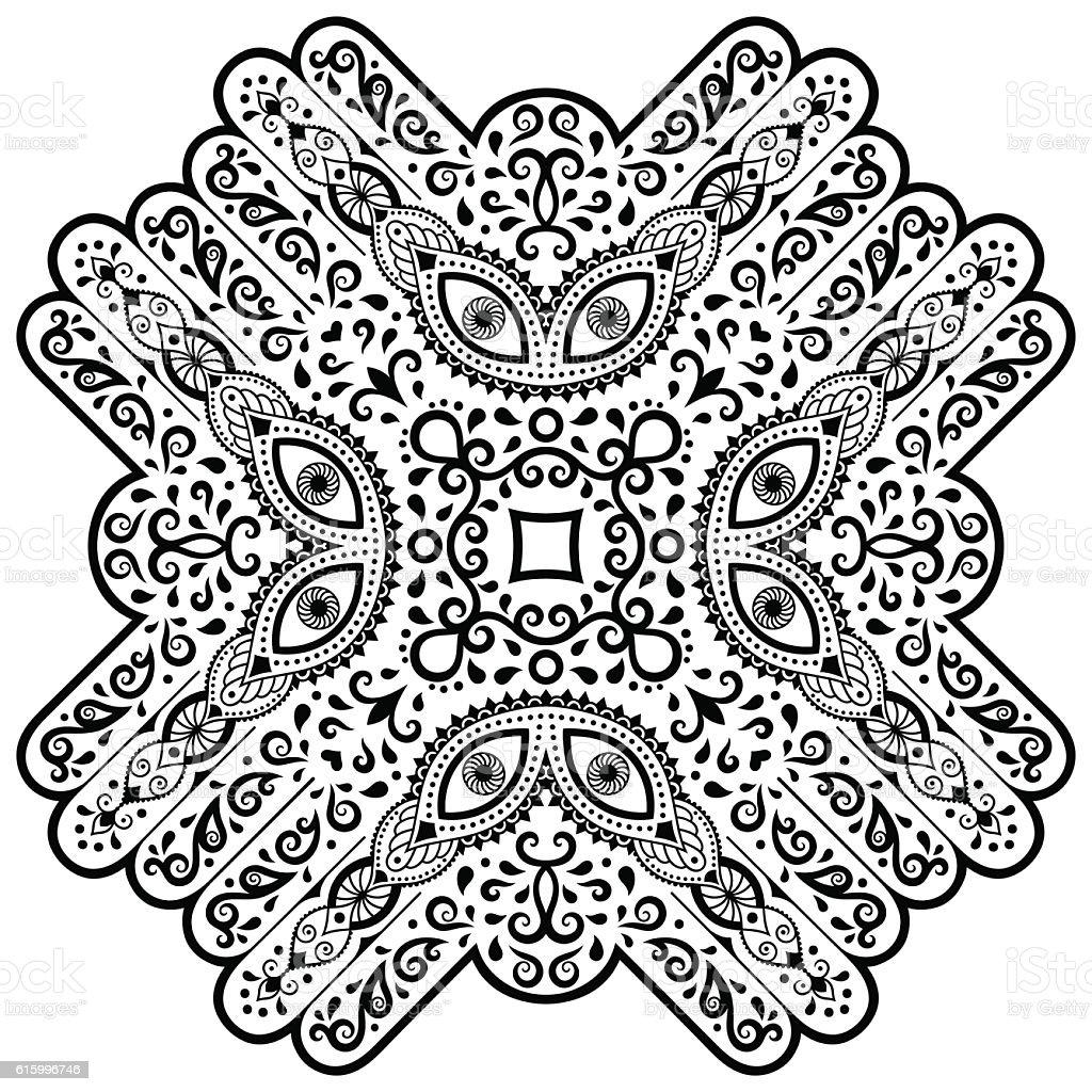 Mehndi Mandala Henne Tatouage De Style Motif Livre De Coloriage