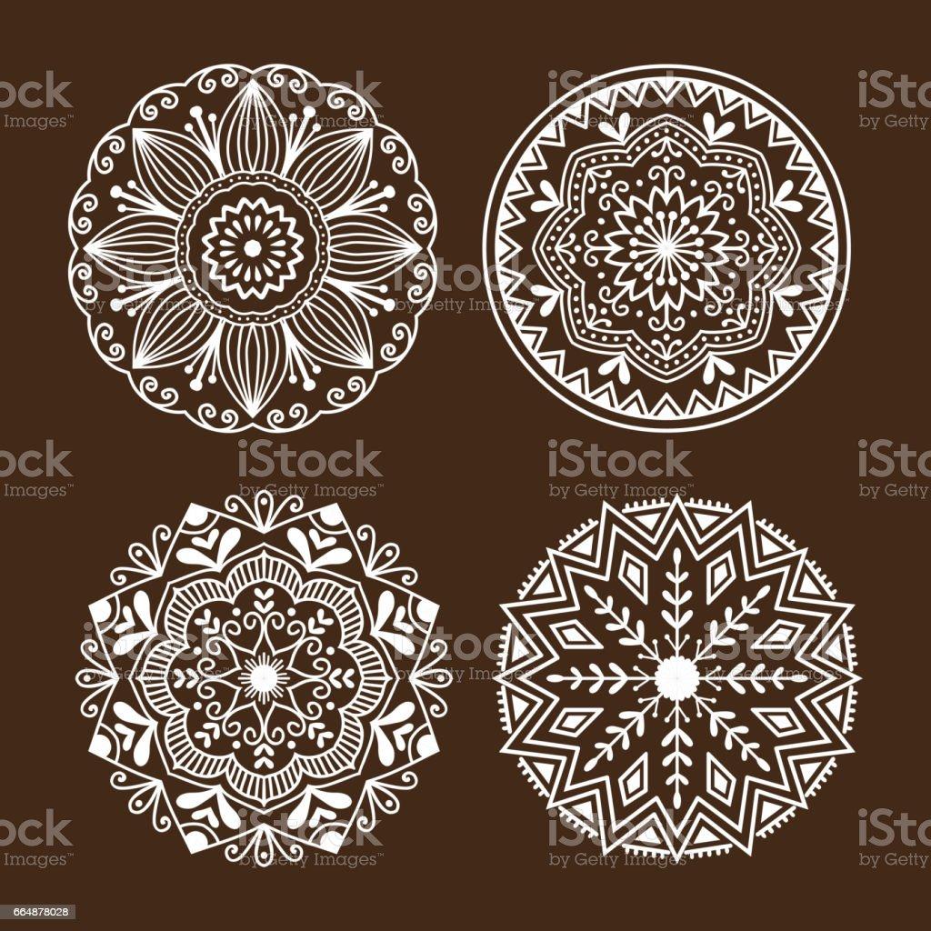 Henna Tattoo Mehndi Blume Vorlage Doodle Ornamentale Spitze