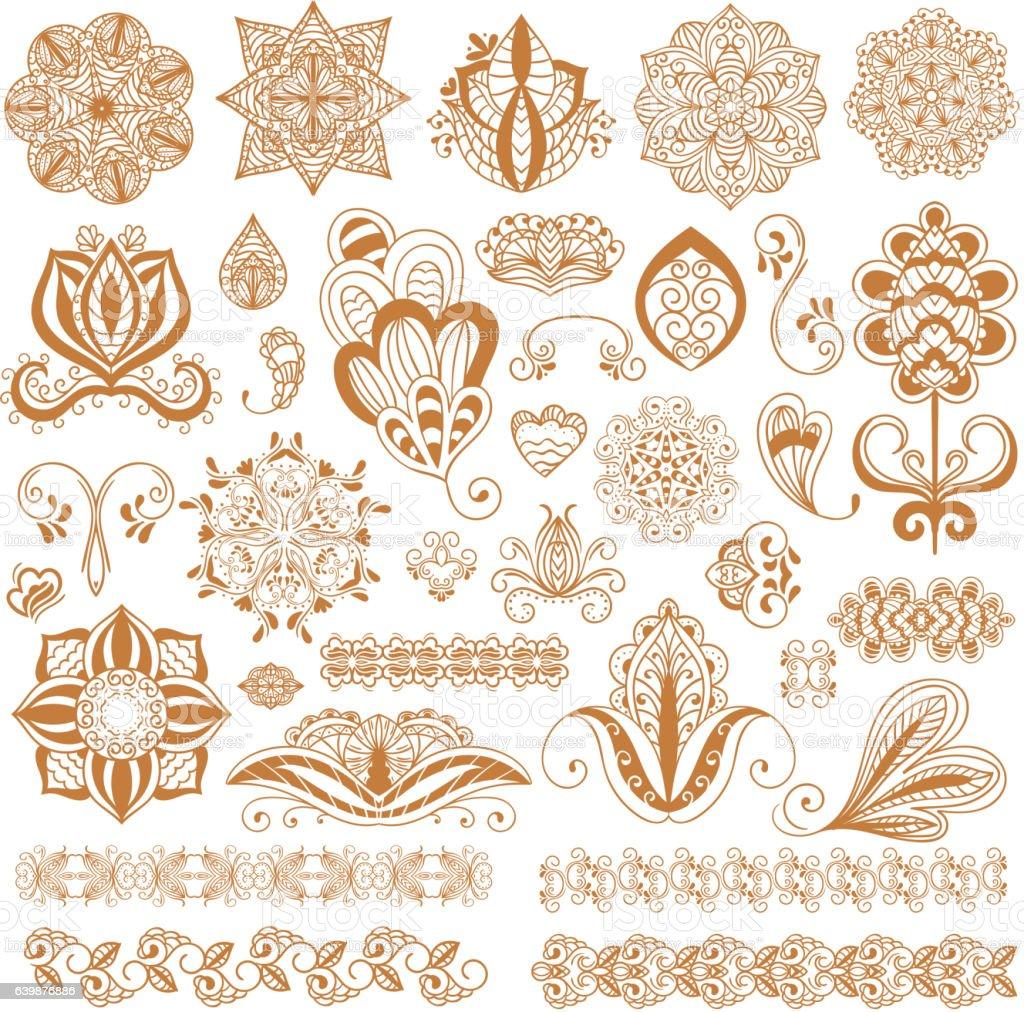 Henna tattoo mehndi flower template vector. vector art illustration
