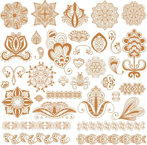 Henna tattoo mehndi flower template vector. - Illustration vectorielle