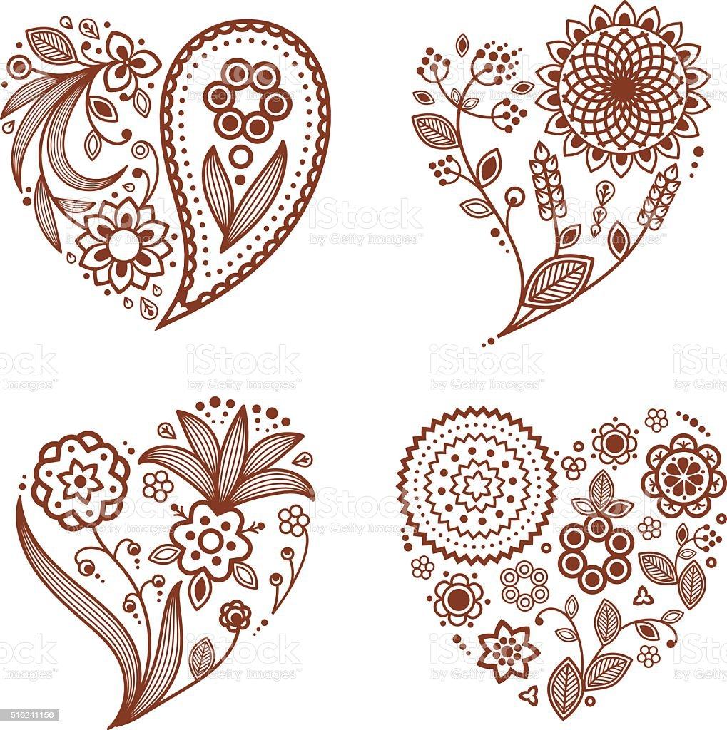 Henna tattoo ornamental hearts mehndi style stock vector for Heart henna tattoo