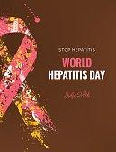 Hepatitis Awareness Ribbon Background. 28 July World hepatitis day. Vector illustration